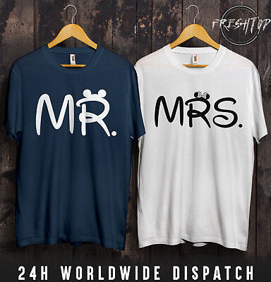 Mr Mrs T Shirt Valentines Day Disneyland Holiday Wifey Hubby Girlfriend Married