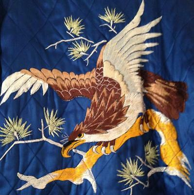 Vintage Quilted Blue Satin Man's Smoking Jacket w Eagle Embroidery on Back M