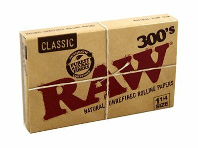 Raw Classic 300's Natural 1 1/4 Cigarette Rolling Papers 300 Leaves Per Pack