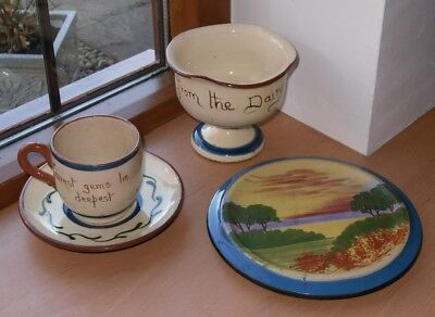 Collection Torquay/Barton/Torvale Pottery Teapot Stand/Cup & Saucer/Cream Bowl