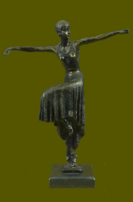 "Art Deco Bronze Sculpture ""Testris"" Belly Dancer Signed DH Chiparus Figurine LRG"