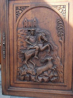French Antique Hand Carved Large Wood Door Panel -  Horse Man Hunting Sculpture