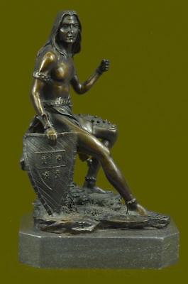 Native American Indian Chief Bronze Marble Statue Art Deco Western Style Figure