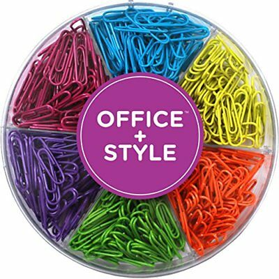 Office Style 28 mm Multi- Colored Paper Clips With Plastic Case, 480-Pieces.