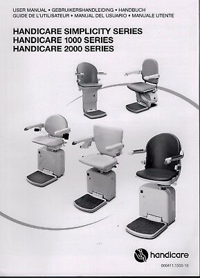 Handicare Simplicity 1000 2000 Series Stairlift User Manual & User Pack  3903F