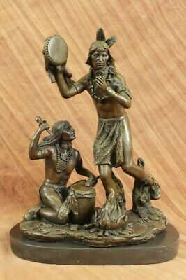 Indian Playing Ceremonial Drum 25 Large Bronze Sculpture Statue Home Figurine