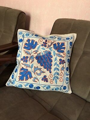 Antique Uzbek Handmade Embroidery Suzani Pillowcase