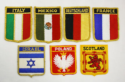 7 NEW Vintage Foreign Country Flag Patches Italy France Israel Poland Scotland