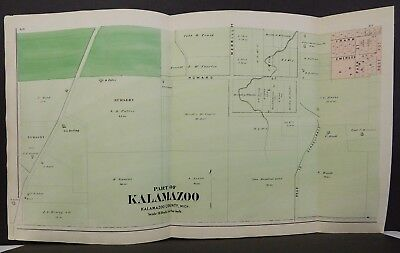 Michigan Kalamazoo County Map City of Kalamazoo Complete 8TriFold Pg 1873 W16#56