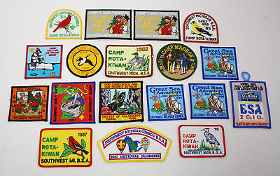 18 NEW Vintage Southwest Michigan Council BSA Embroidered Patches 1980s 1990s