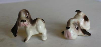 Set of 2 Basset Hound Bone China Figures Made in Japan-Unusual-Adorable-MUST SEE