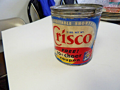 VINTAGE 1940's CRISCO 3 pound CAN WITH PAPER COUPON AND LABEL
