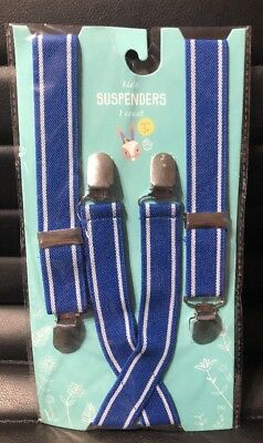 Boys toddler blue and white suspenders wedding Easter church photo prop