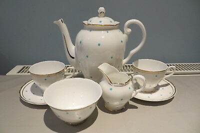Pretty Tuscan China Spotty Coffee/tea Set For Two Free Uk P&p