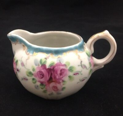 "Antique Or Vintage Pressed Mold Hand Painted 4.5"" X 2.5"" Porcelain Creamer"