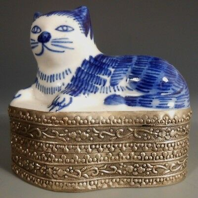 China Chinese Copper Silvered Box w/ Blue & White Porcelain Cat Insert ca 20th c