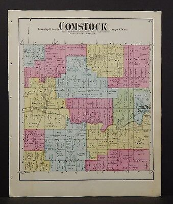 Michigan Kalamazoo County Map Comstock Township  1873  W16#77