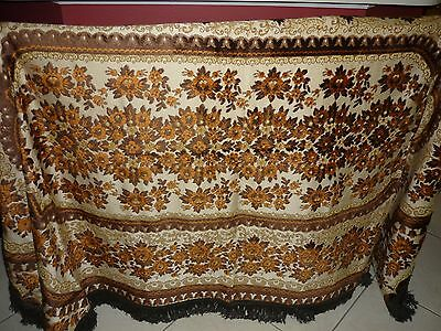 Antique Tablecloth Velet and Dralon Rectangular from Belgium 19-20th Centuries
