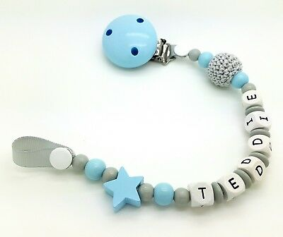 Personalised Baby Dummy Wooden Clip Shower / Christening Gift /Free MAM Adapter