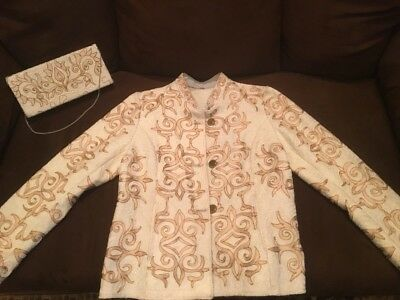 Uzbek National Beautiful Embroidery Jacket With Embroidery Clutch Bag