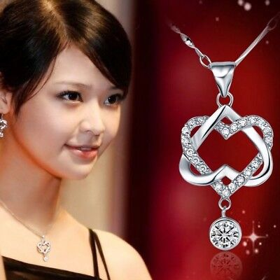 Women Fashion 925 Silver Plated Double Heart Pendant NECKLACE Chain Jewelry New