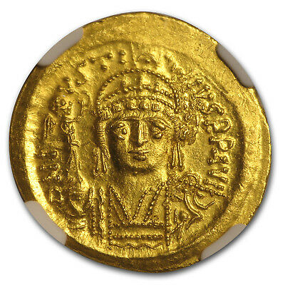 Byzantine Gold Solidus Emperor Justin II (565-578 AD) MS NGC - SKU#161320