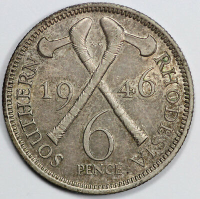 Southern Rhodesia 1946 Silver Sixpence, lightly toned Uncirculated