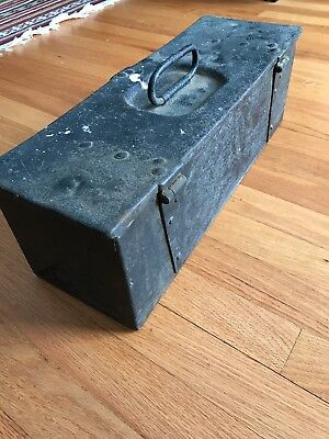 Vintage Unique Black Heavy Duty Steel Tool Box,1930's Industrial Toolbox Antique