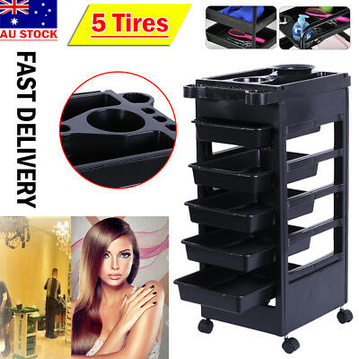 Hairdresser Salon Spa Multifunction Hair Trolley 5 Tier Roll Beauty Storage Cart