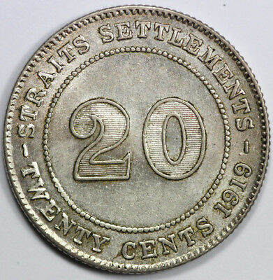 Strait Settlements 1919 'B' 20 Cent, Choice Uncirculated