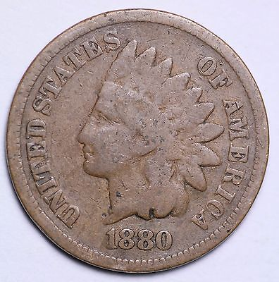 1880 Indian Head Cent Penny / Circulated Grade Good / Very Good 95% Copper Coin