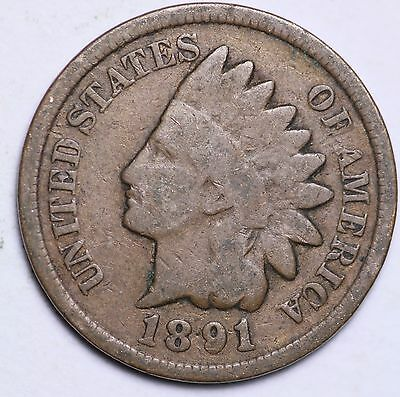 1891 Indian Head Cent Penny / Circulated Grade Good / Very Good 95% Copper Coin