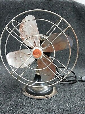 Antique AC Gilbert Oscillating Table Fan - M1743G - Cast Iron Base