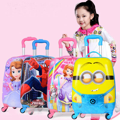 "2018 17"" 4 Wheels Kids Hard Shell Travel Suitcase Cabin Holiday Trolley Luggage"