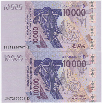 French West Africa 2013 10000 Francs 'D - Mali', Uncirculated (Consecutive Pair)