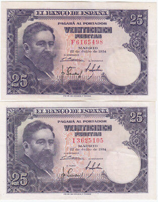 Spain '22.07.1954' 25 Pesetas, about Uncirculated (2 notes)