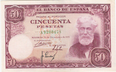 Spain '31.12.51' 50 Pesetas, about Uncirculated