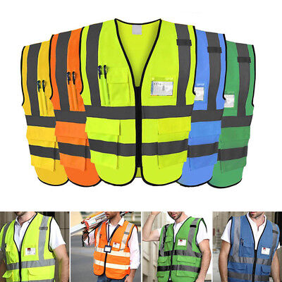 Hi-Vis High Visibility Vest W/ Pockets Neon Safety Vest Fluorescent Strips New