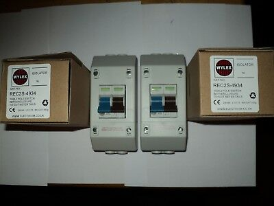 TWO Wylex REC2S 100A DP Isolator Mains Switch REC Enclosures