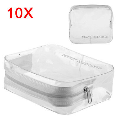 10x HOLIDAY TRAVEL CLEAR BAGS Clear Plastic Airline Airport Toiletry Case UK