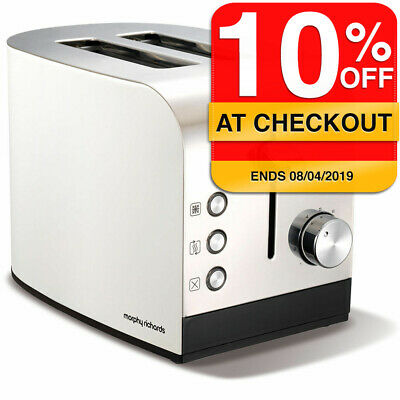 Morphy Richards 222051 White/Chrome Accents 2 Slice Toaster w/ Removable Tray