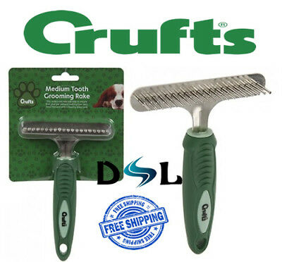 Crufts Pet Dog Medium Tooth Grooming Rake For Thick Coats Soft Grip Brush Comb