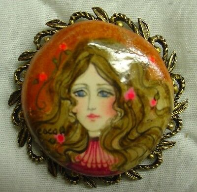 Antique Vintage Hand Painted Brooch Pin, Made in the late 1960s, One of a Kind