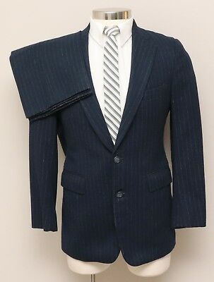 Vintage 1960-70s Mens 34R JcPenney 2 Piece Blue Pinstripe Flannel Wool Suit
