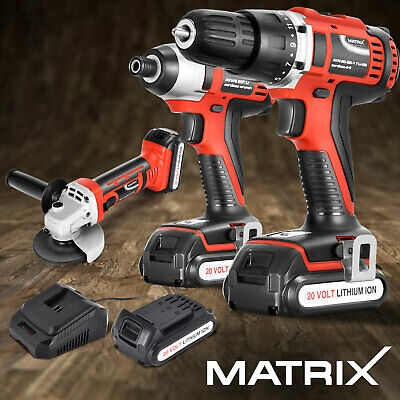 Matrix 20V Cordless Drill Impact Driver Angle Grinder Electric Power Tool Set