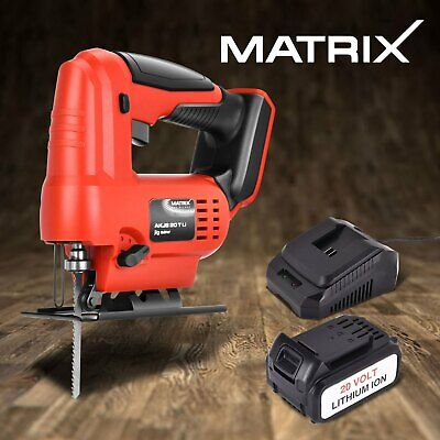 Matrix Cordless Jigsaw Power Tool Cutting 20V w/ 4.0Ah Lithium Battery Charger