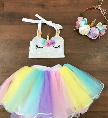 USA Kids Baby Girl Princess Rainbow Color Tutut Skirt Dancewear Dress Party 1-4T
