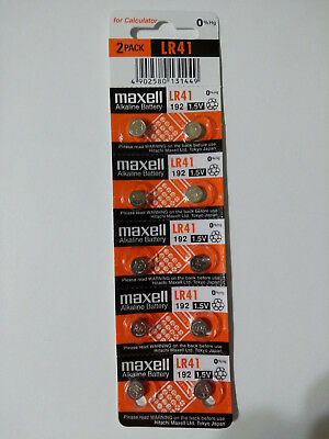 10 Fresh Maxell LR41 AG3 384 392 392A 192 LR736 1.5V Alkaline Battery Exp 2020