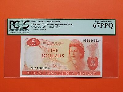 $5 1977-81 New Zealand Replacement Note Superb Gem PCGS67