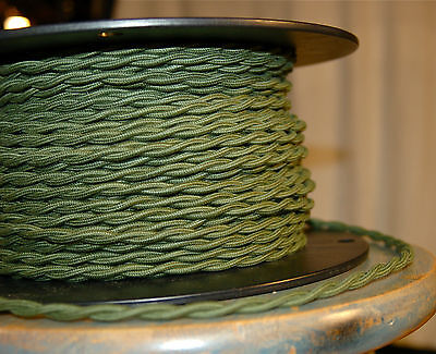 Green Twisted Cotton Covered Wire, Vintage Style Cloth Light Cord, Cotton Fabric